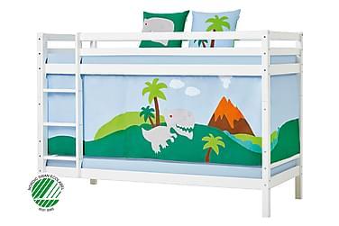 Våningssäng Basic 90x200 med Draperi Dinosaurie Vit