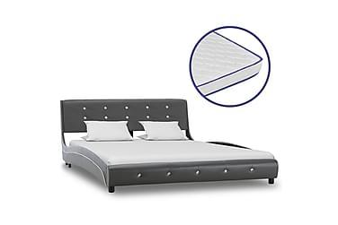 Säng med memoryskummadrass grå konstläder 140x200 cm