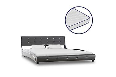 Säng med memoryskummadrass grå konstläder 160x200 cm