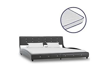 Säng med memoryskummadrass grå konstläder 180x200 cm