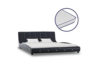 Säng med memoryskummadrass svart konstläder 160x200 cm