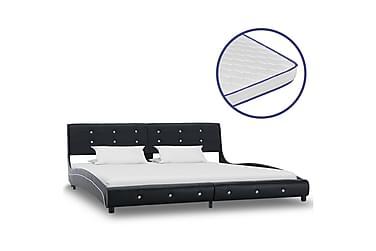 Säng med memoryskummadrass svart konstläder 180x200 cm