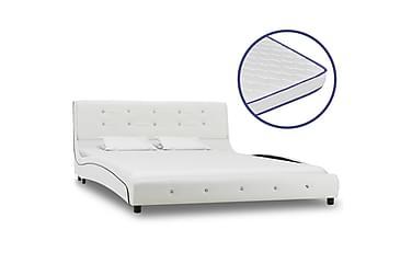 Säng med memoryskummadrass vit konstläder 140x200 cm