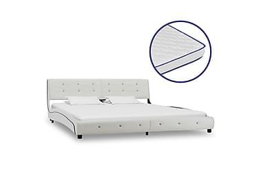 Säng med memoryskummadrass vit konstläder 180x200 cm