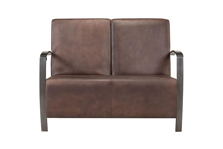 2-sitssoffa nött brun äkta skinn - Brun - Möbler - Soffor - 2-4-sits soffor