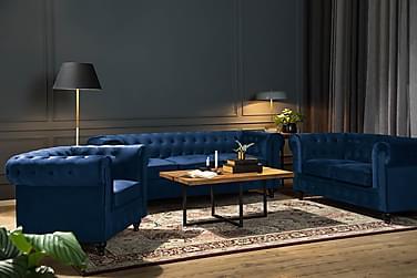 Soffa Walton Lyx 2-sits  Blå Sammet