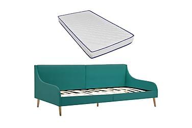 Bäddsoffa med memoryskummadrass sängram grön tyg