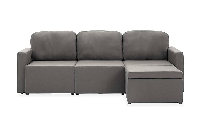 Bäddsoffa modulär 3-sits mullvadsbrun tyg - Taupe - Möbler - Soffor - Bäddsoffor