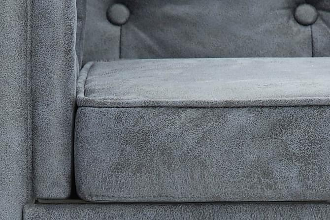 Chesterfieldsoffor 3 st tygklädsel grå - Grå - Möbler - Soffor - Chesterfieldsoffor