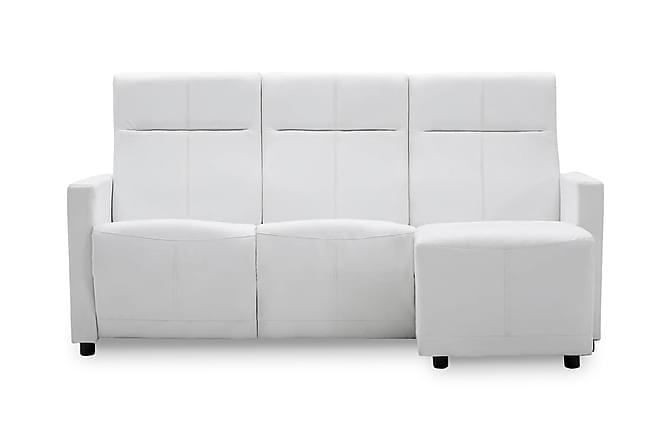 Soffa med justerbart ryggstöd L-formad konstläder vit - Vit - Möbler - Soffor - Divansoffor & U-soffor