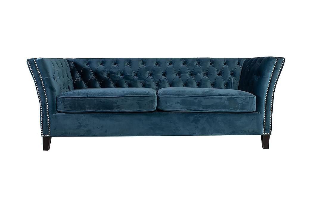 Soffa MAYERS 3-sits 210x86xH78 sammet havsblå - Möbler - Soffor - Howardsoffor