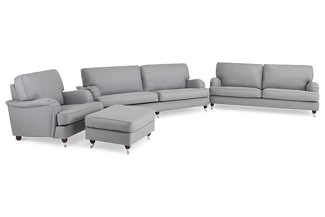 Soffgrupp Howard Oxford 4-sits+3-sits+Fåtölj+Fotpall - Ljusgrå - Möbler - Soffor - Howardsoffor