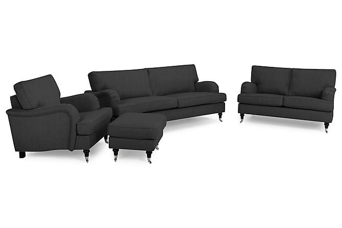 Soffgrupp Oxford Classic 2-sits+Fåtölj+Fotpall - Antracit - Möbler - Soffor - Howardsoffor