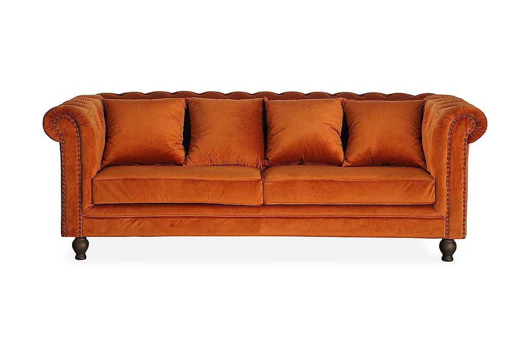 Sammetssoffa Ryan 3-sits - Orange - Möbler - Soffor - Howardsoffor