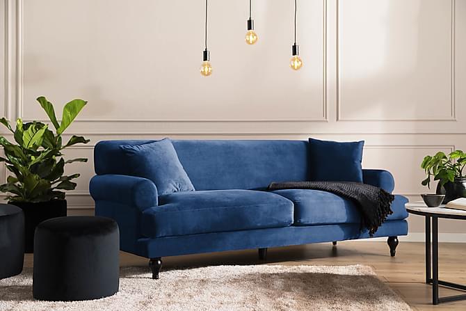 Sammetssoffa Webb 3-sits - Midnattsblå - Möbler - Soffor - 2-4-sits-soffor
