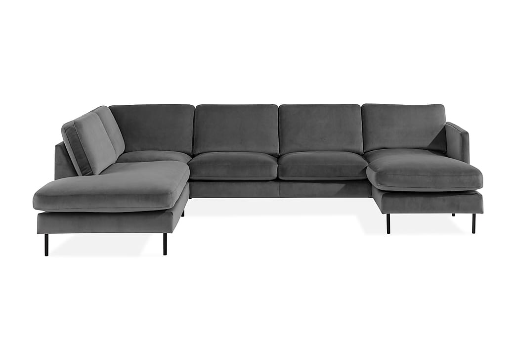 U-soffa Elion med Divan Sammet Höger - Ljusgrå - Möbler - Soffor - Divansoffor & U-soffor