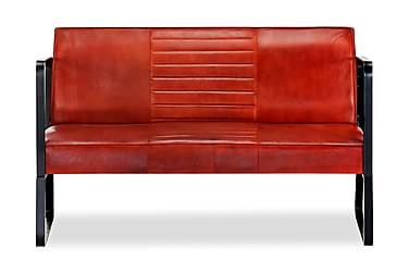 2-sitssoffa brun äkta läder