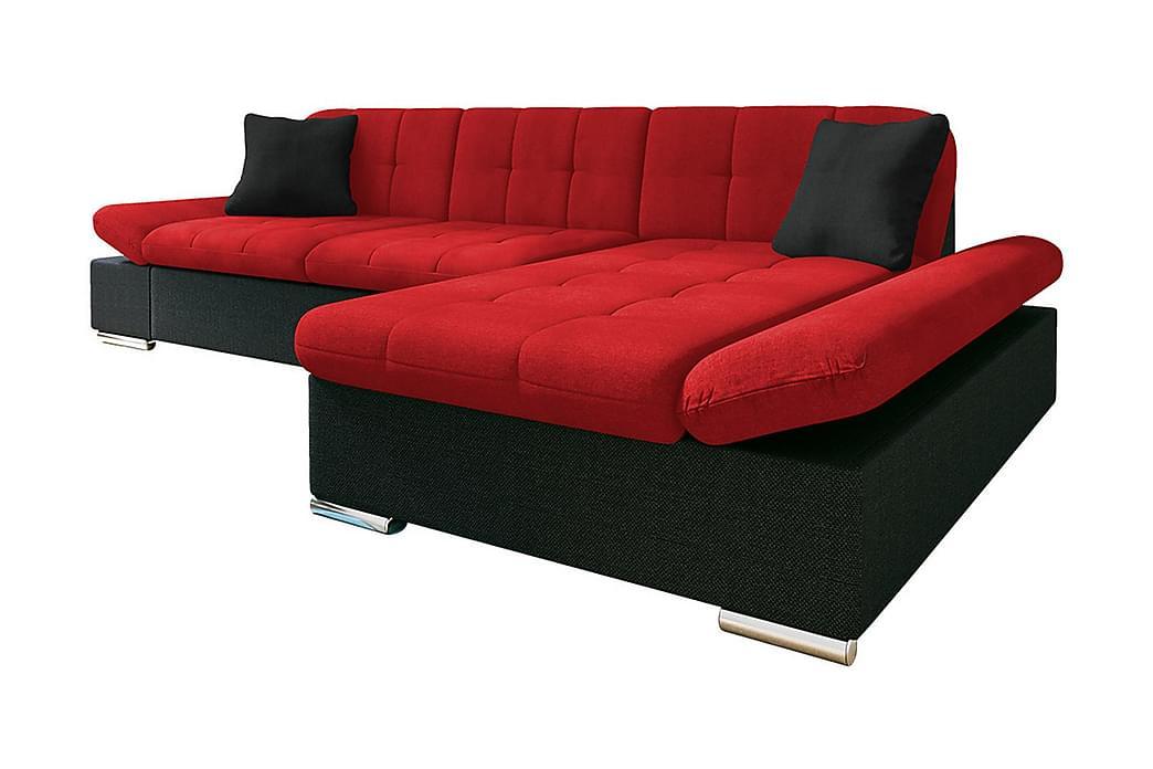 Divanbäddsoffa Malwi 278x162x76 cm - Grå/Röd - Möbler - Soffor - Skinnsoffor