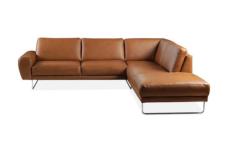 Hörnsoffa Corneno Höger - Ljusbrun/Läder - Möbler - Soffor - Skinnsoffor