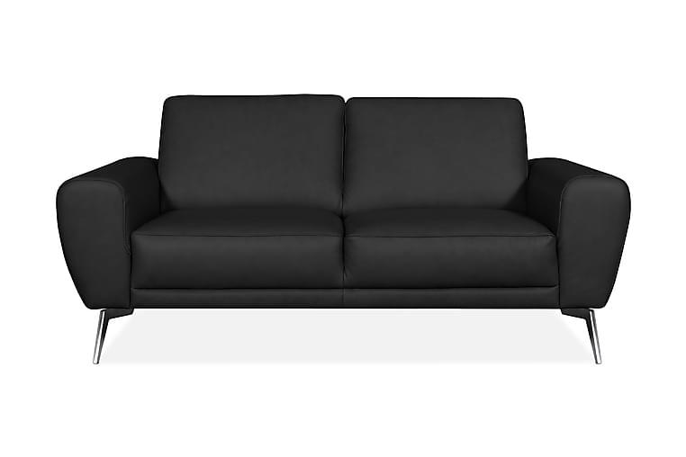Skinnsoffa Corneno 2-sits - Svart|Krom|Mattsvart - Möbler - Soffor - Skinnsoffor