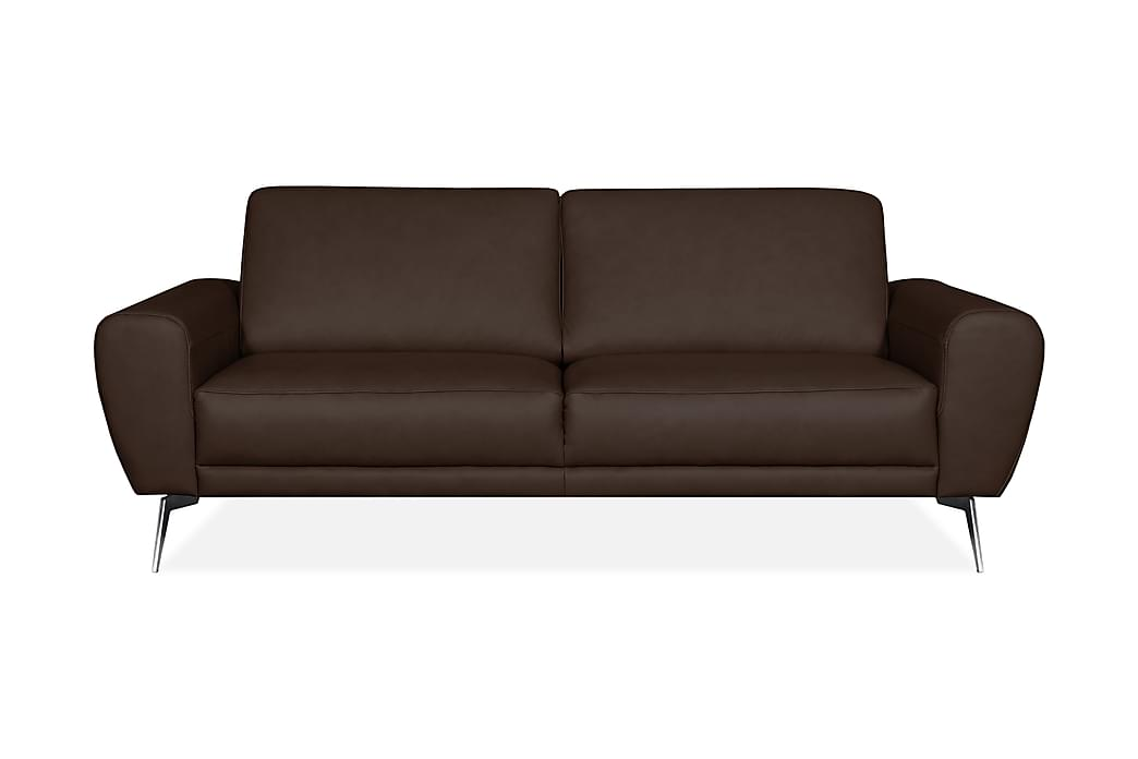 Skinnsoffa Corneno 3-sits - Brun|Krom|Mattsvart - Möbler - Soffor - Skinnsoffor