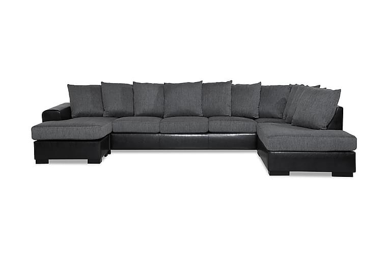 U-soffa Friday Lyx Large med Divan Vänster Konstläder - Grå - Möbler - Soffor - Skinnsoffor