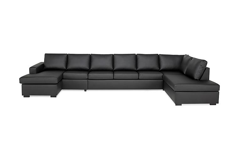 U-soffa Nevada XXL Divan Vänster - Svart Konstläder - Möbler - Soffor - Skinnsoffor