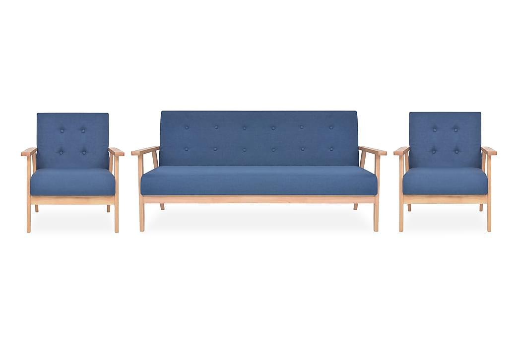 Soffgrupp 3 delar tyg blå - Blå - Möbler - Soffor - Soffgrupp