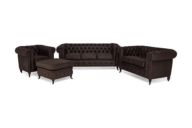 Soffgrupp Chester Deluxe 3-sits+2-sits+Fåtölj+Fotpall - Mörkbrun - Möbler - Soffor - Soffgrupp