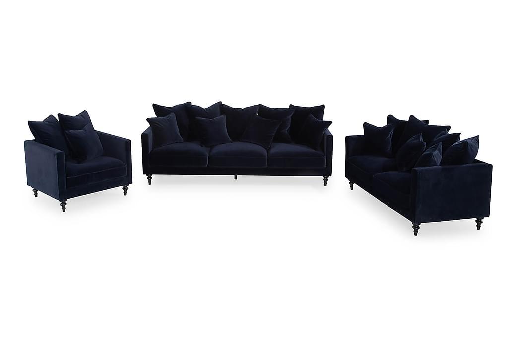 Soffgrupp Floby - Blå Sammet - Möbler - Soffor - Soffgrupp