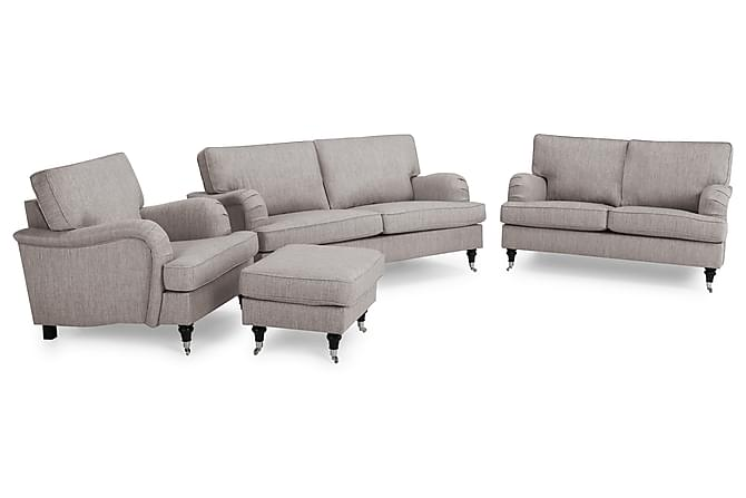 Soffgrupp Oxford Classic 3-sits+2-sits+Fåtölj+Fotpall - Grå|Brun - Möbler - Soffor - Howardsoffor