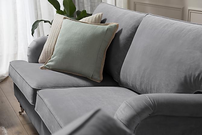 Soffgrupp Oxford Classic 3-sits+Fåtölj Sammet - Silvergrå - Möbler - Soffor - Soffgrupp