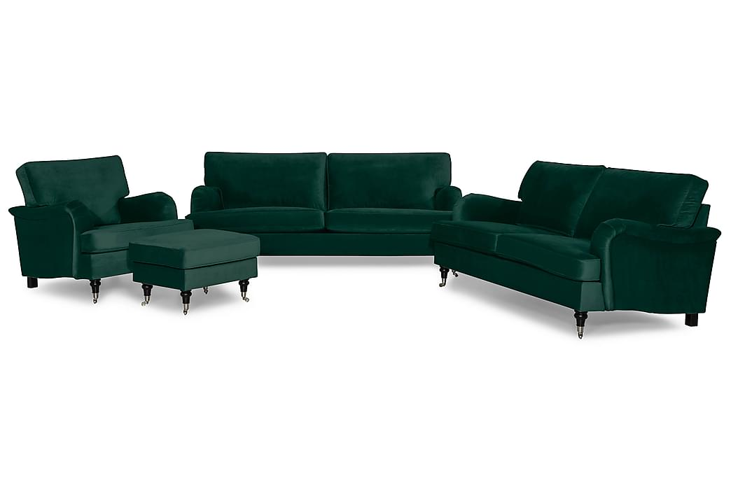 Soffgrupp Oxford Classic 3,5-sits+3-sits+Fåtölj+Pall Sammet - Mörkgrön - Möbler - Soffor - Soffgrupp