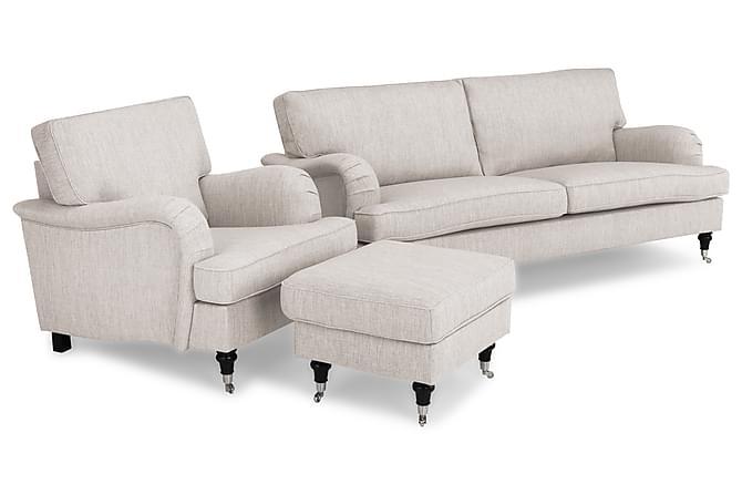 Soffgrupp Oxford Classic 3,5-sits+Fåtölj+Fotpall - Beige - Möbler - Soffor - Howardsoffor