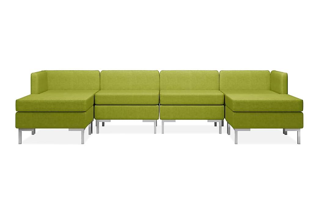 Soffgrupp tyg 6 delar grön - Grön - Möbler - Soffor - Soffgrupp