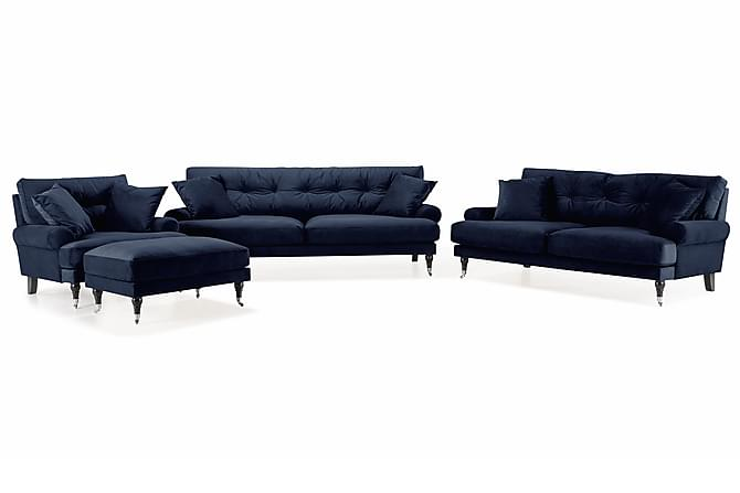Soffgrupp Webber 3-sits+2-sits+Fåtölj+Fotpall Sammet - Midnattsblå/Krom - Möbler - Soffor - Soffgrupp