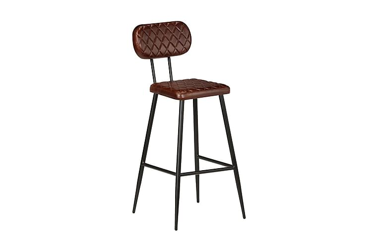 Barstolar 2 st brun äkta läder - Brun - Möbler - Stolar - Barstolar