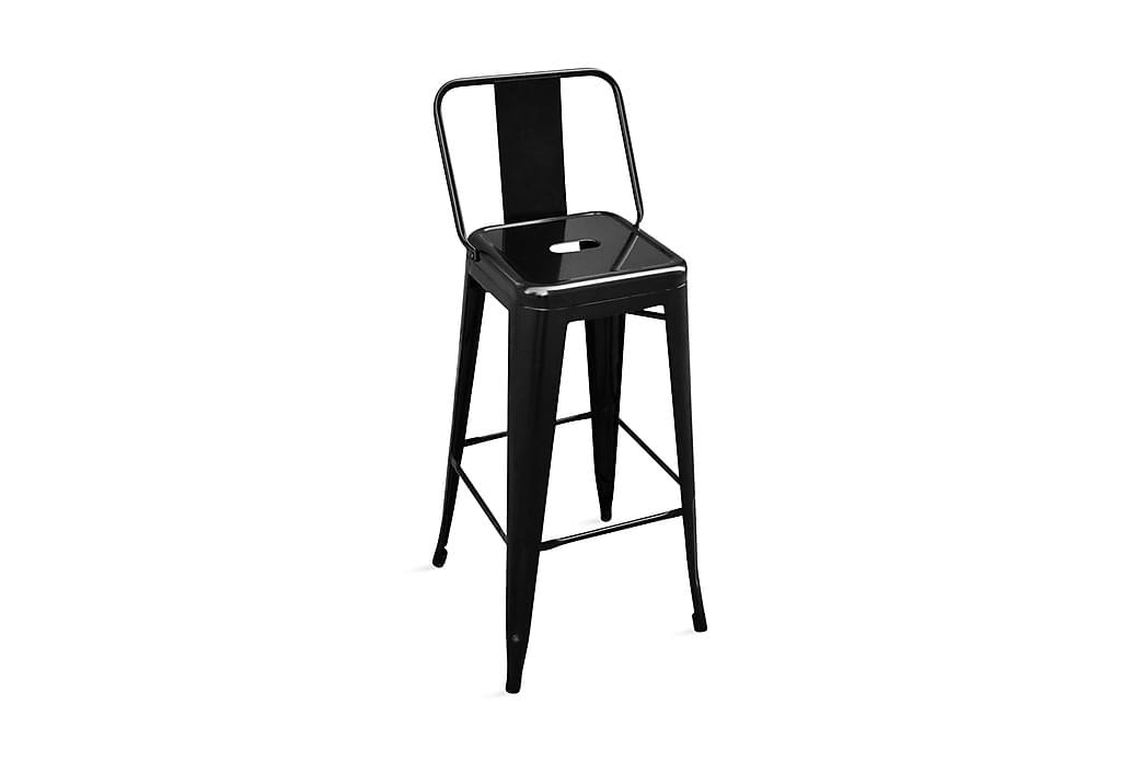 Barstolar 2 st svart stål - Svart - Möbler - Stolar - Barstolar
