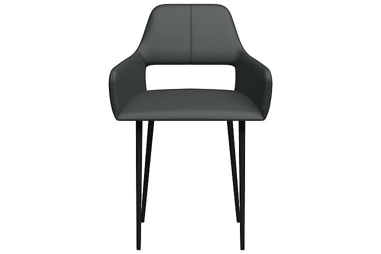 Matstolar 4 st grå konstläder - Grå - Möbler - Stolar - Matstolar & köksstolar