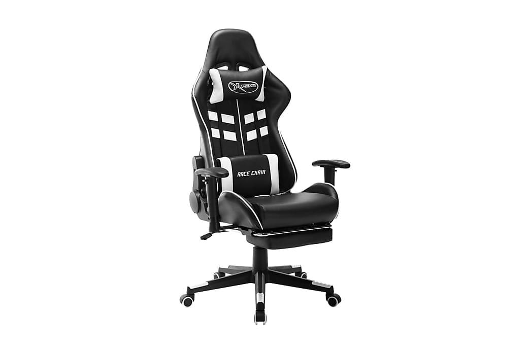 Gamingstol med fotstöd svart och vit konstläder - Flerfärgsdesign - Möbler - Stolar - Kontorsstol & skrivbordsstolar