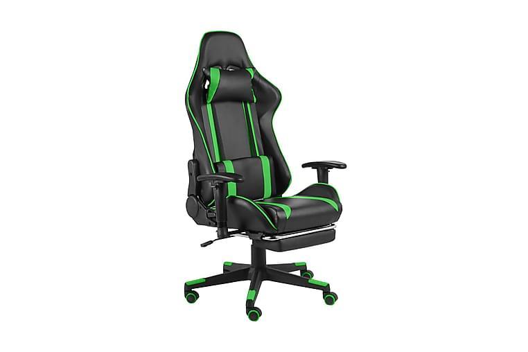Snurrbar gamingstol med fotstöd grön PVC - Grön - Möbler - Stolar - Kontorsstol & skrivbordsstolar