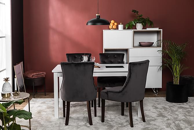 Fåtölj Ophelia Sammet - Grå|Mörkbrun - Möbler - Stolar - Matstolar & köksstolar
