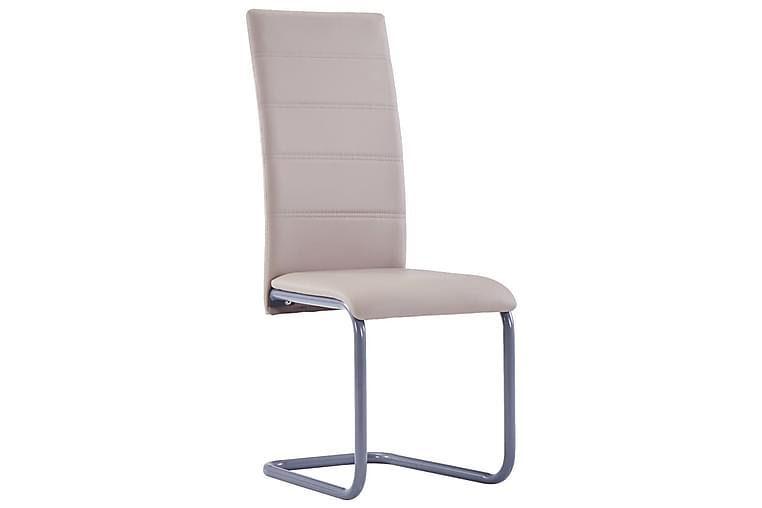 Fribärande matstolar 2 st cappuccino konstläder - Beige - Möbler - Stolar - Matstolar & köksstolar