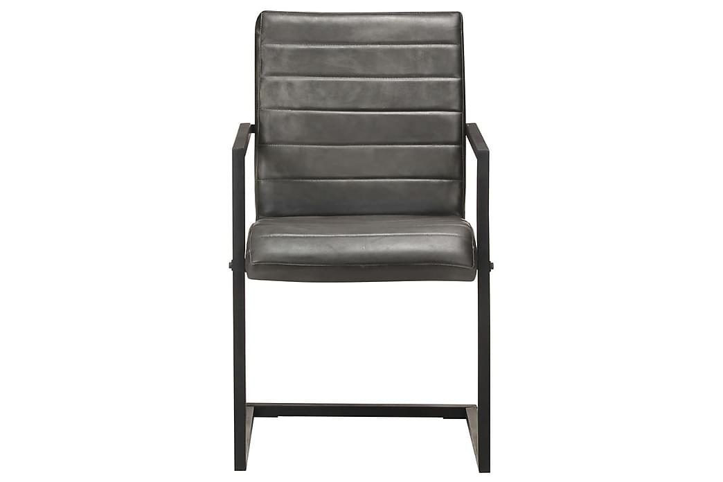 Fribärande matstolar 2 st grå äkta läder - Grå - Möbler - Stolar - Matstolar & köksstolar