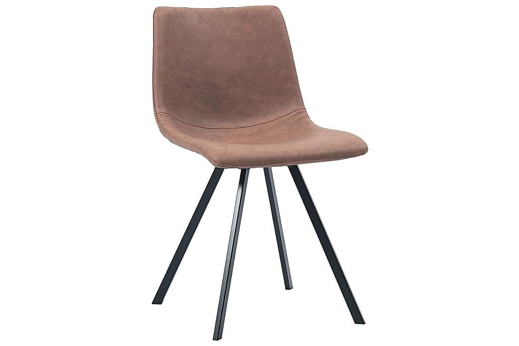 Matstolar 2 st medium brun konstläder - Brun - Möbler - Stolar - Matstolar & köksstolar