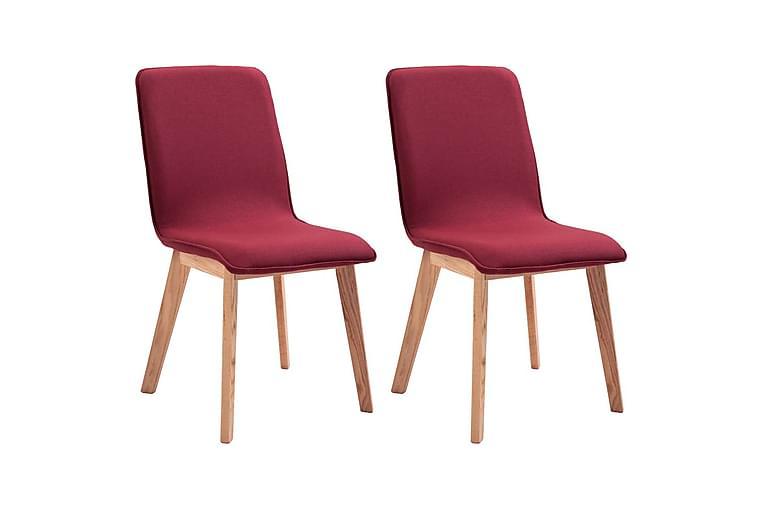 Matstolar 2 st röd tyg och massiv ek - Röd - Möbler - Stolar - Matstolar & köksstolar