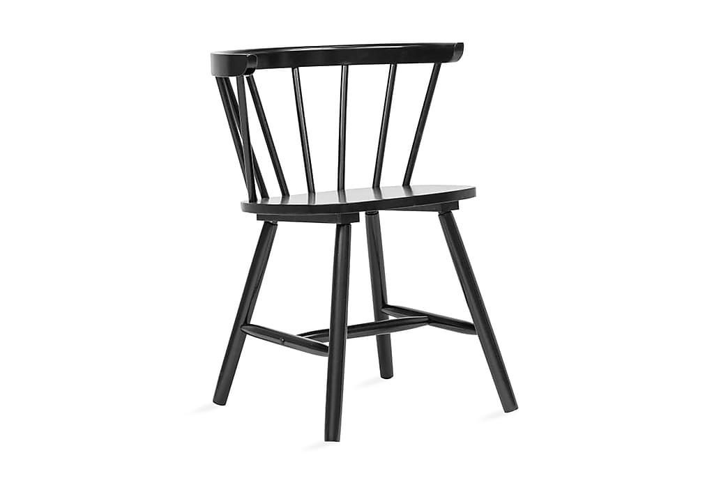 Matstolar 2 st svart massivt gummiträ - Svart - Möbler - Stolar - Matstolar & köksstolar