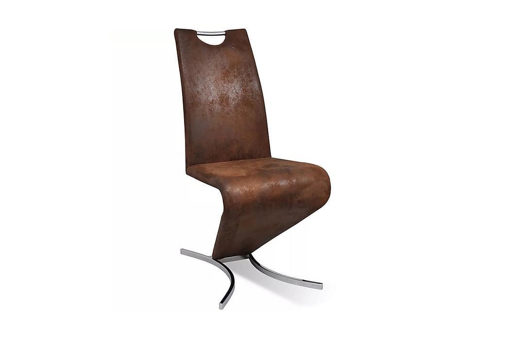 Matstolar 4 st brun konstläder - Brun - Möbler - Stolar - Matstolar & köksstolar