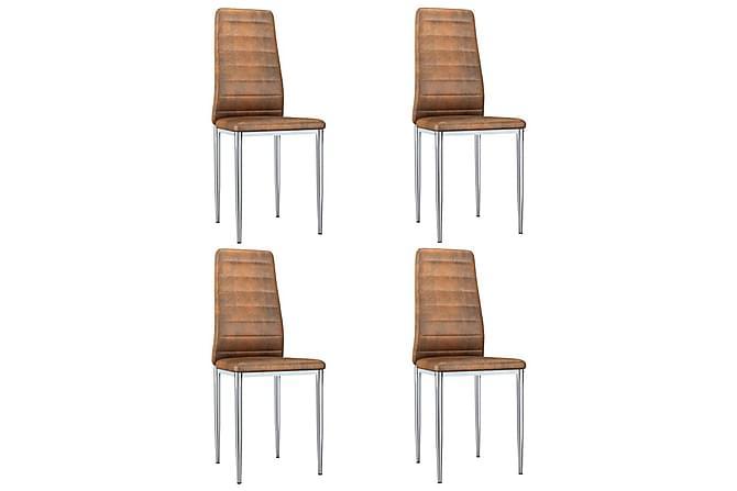 Matstolar 4 st brun konstmocka - Brun - Möbler - Stolar - Matstolar & köksstolar