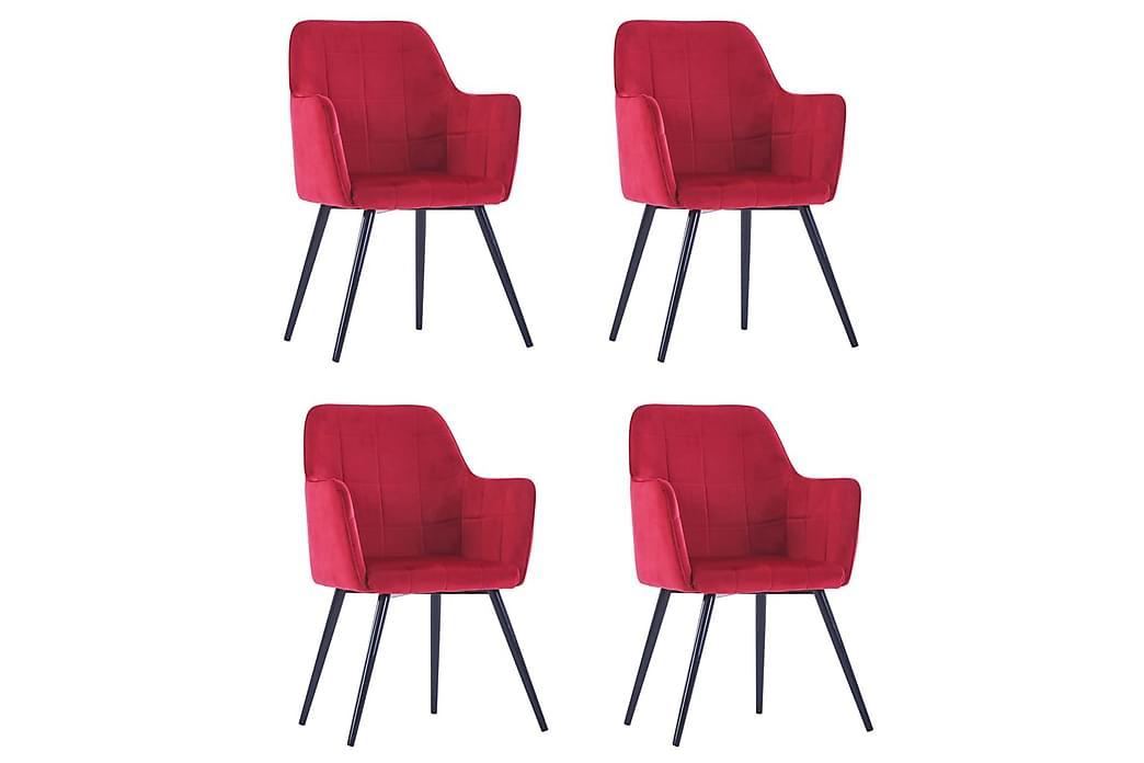 Matstolar 4 st mörkröd sammet - Röd - Möbler - Stolar - Matstolar & köksstolar